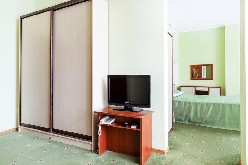 В номере:двуспальная кровать, раскладывающийся диван, сплит- система и сан.узел(душевая кабина, туалет), мини-холодильник и спутниковое телевидение,балкон Стоимость и условия бронирования уточняйте у менеджеров отеля. Дети до 5-ти лет принимаются бесплатно без предоставления отдельного спального места и питания. При бронировании необходима предоплата. При заселении,наличный расчет.